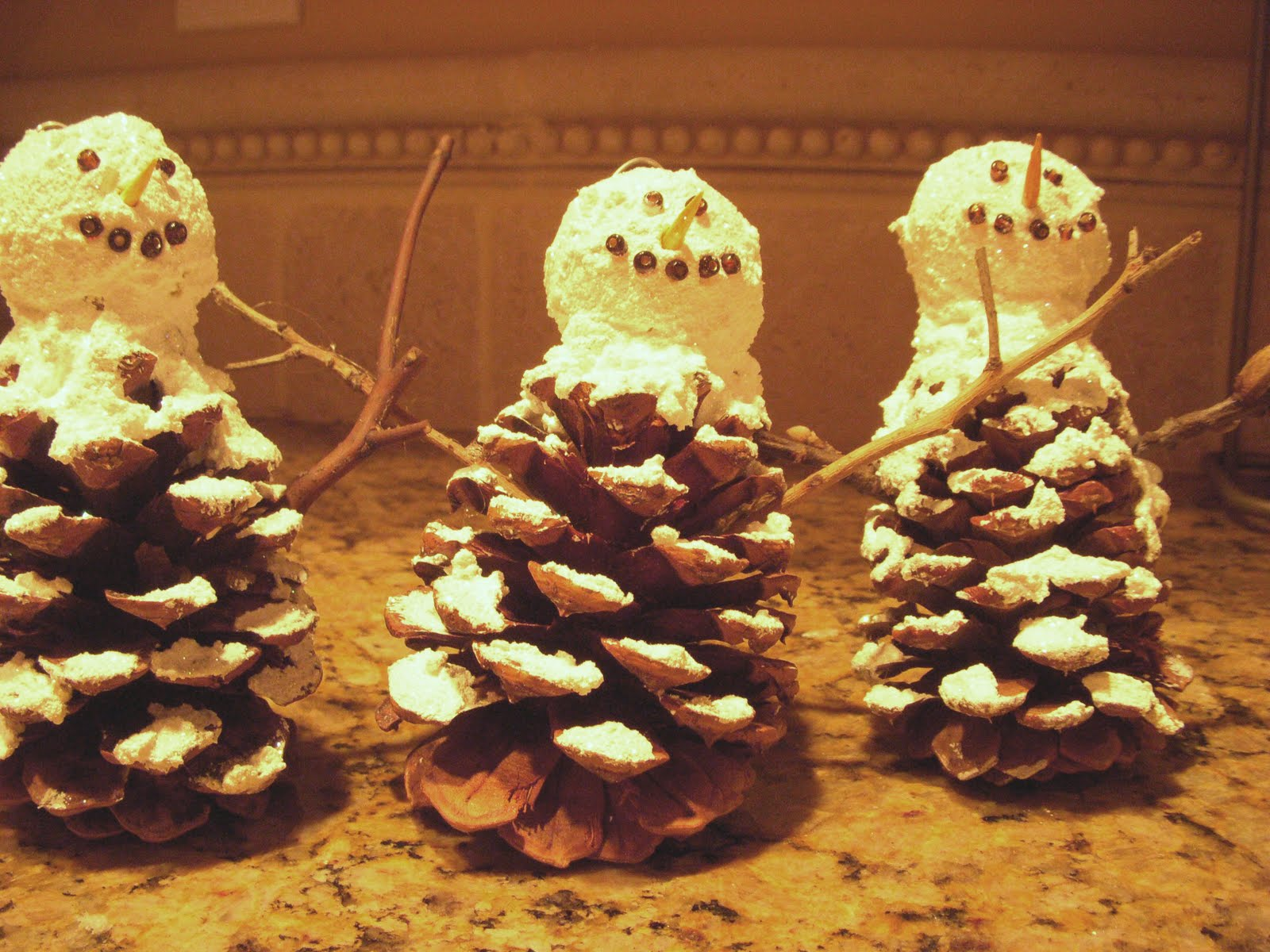 Hope studios pine cone snowman ornament for How to make pine cone christmas tree ornaments