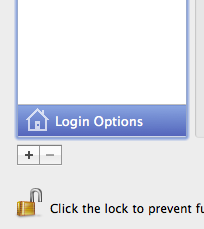 System Preferences login options
