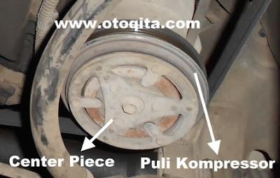 Gambar posisi letak center piece dan puli kompresor