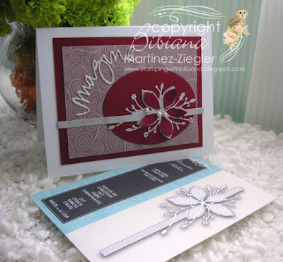 christmas red card front with supplies