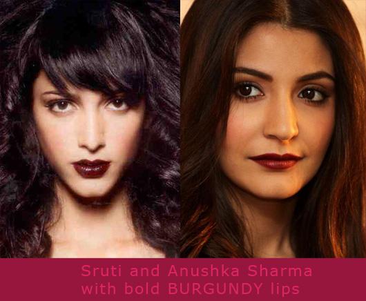 Sruti and Anushka with Burgundy lips nyx lip gloss