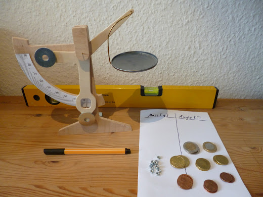 Completed homemade weighing scale with balancing weights