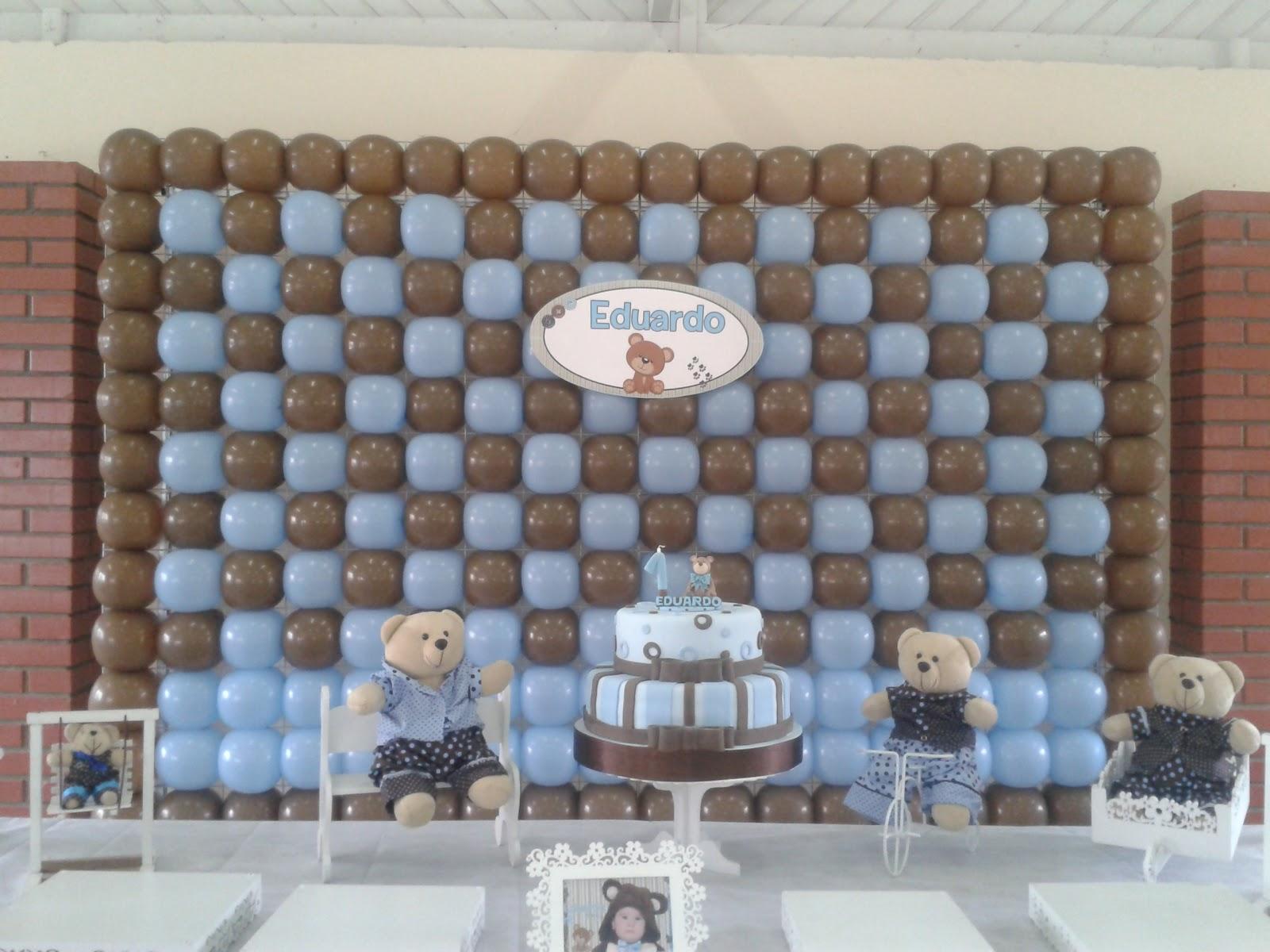 decoracao festa urso azul e marrom:Doce Mel Ateliê de Festas: Decoração Urso Marrom com azul