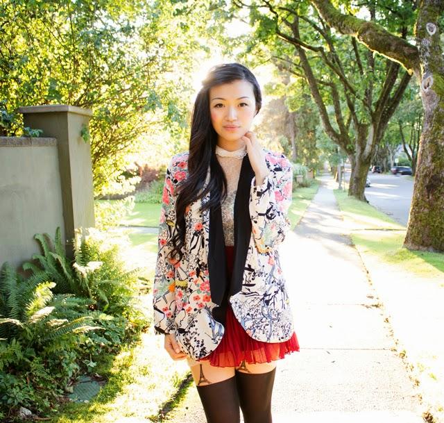 floral blazer, red skirt, vancouver fashion blogger