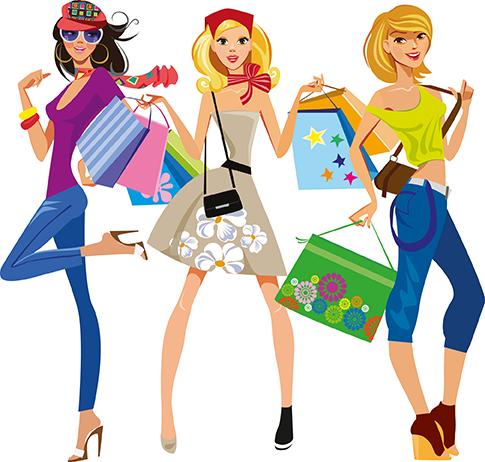 Chicas modernas de compras vectoriales