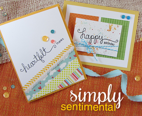 Thank you & Birthday Cards by Jennifer Jackson | Simply Sentimental stamp set | Newton's Nook Designs