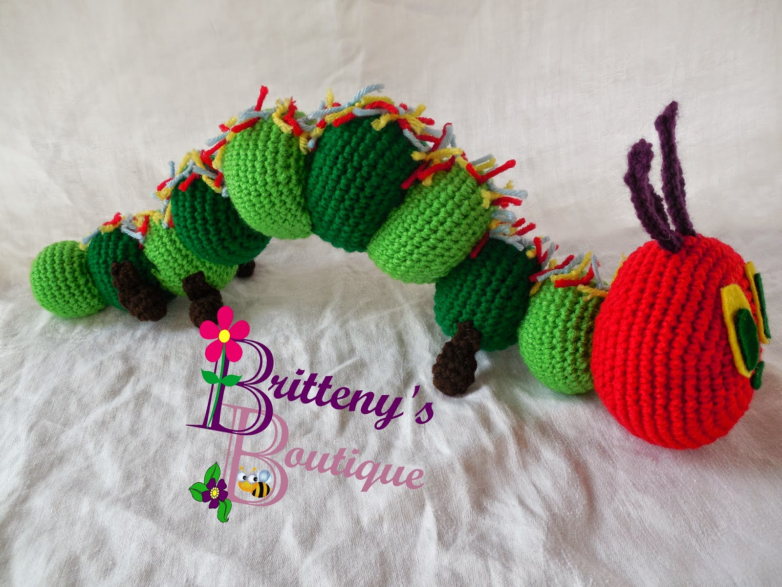 Free Crochet Pattern Very Hungry Caterpillar : Britteny Off the HOOK!!: Brittenys Boutiques Hungry ...
