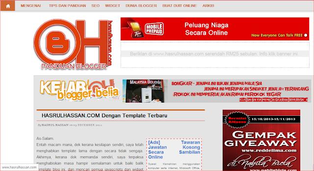 Blog Template Seperti HasrulHassan.com