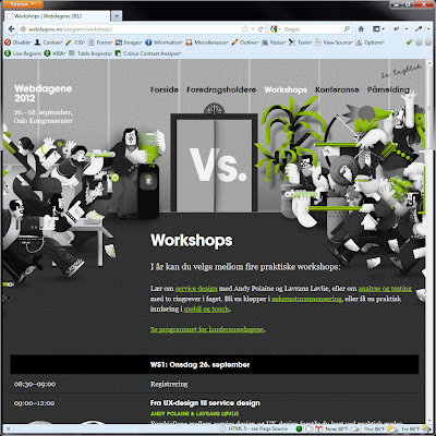 Screen shot of http://webdagene.no/program/workshops/.