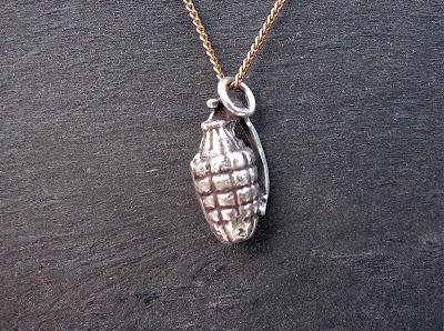 Silver casted frag grenade '60s Action Man style