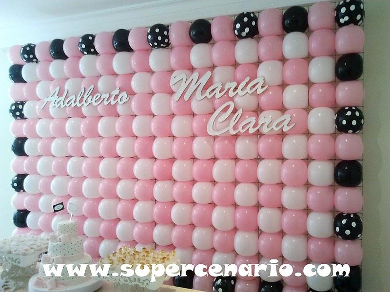 SUPER CENÁRIO Decoração Clean Personalizada Rosa, Branco e Preto