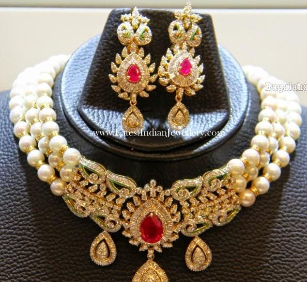 Pearls Choker Diamond Pendant Earrings
