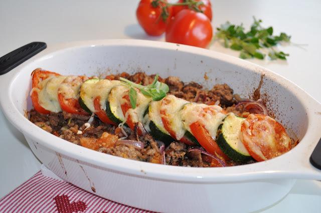 Kjøttdeig med tomatgrateng