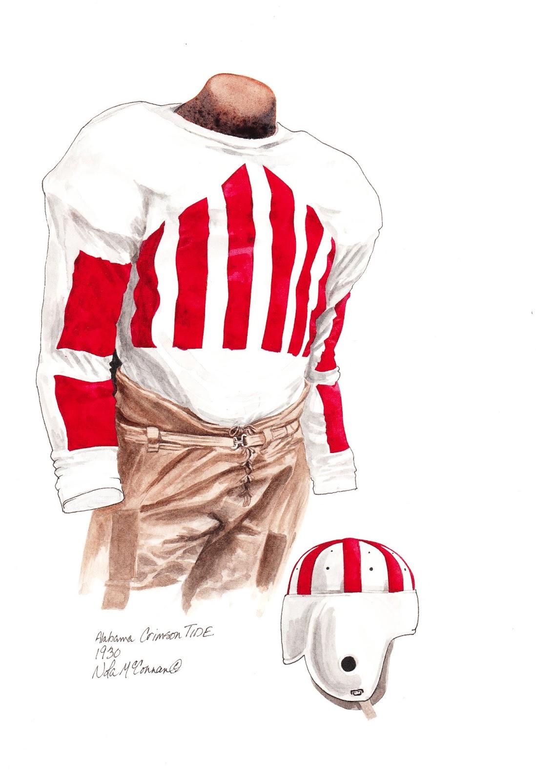 426e19d28 1930 Alabama Crimson Tide football uniform original art for sale