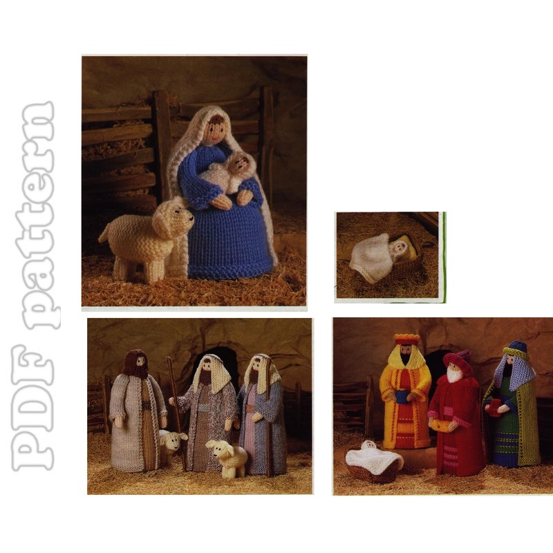 Knitting Pattern Christmas Crib Nativity Scene Booklet : Creche Christmas Crib Knitting Pattern PDF CraftyLine e-pattern shop