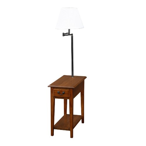 wood end side table with drawer magazine rack and built in lamp. Black Bedroom Furniture Sets. Home Design Ideas