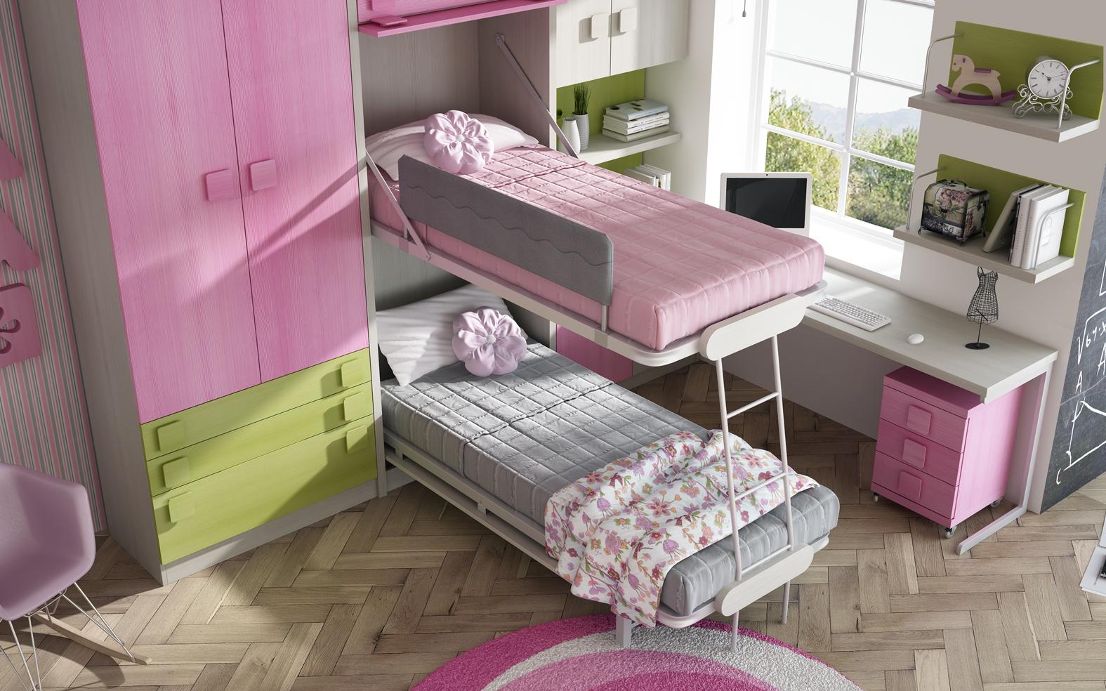 litera abatible  vertical con las dos camas abiertas