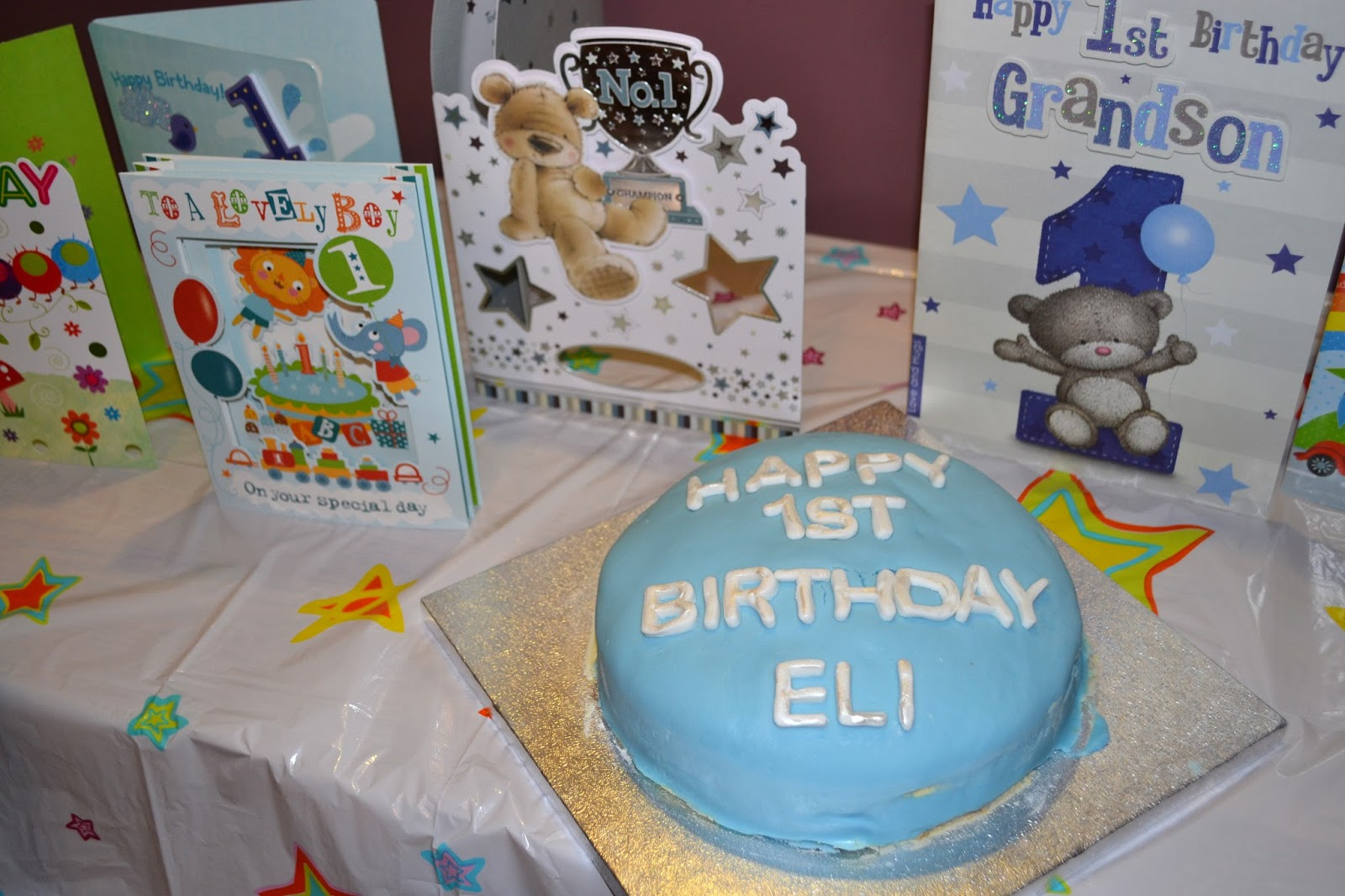 1st birthday cake and cards