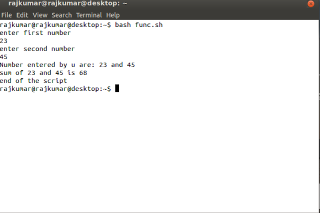 shell script to add two numbers using function