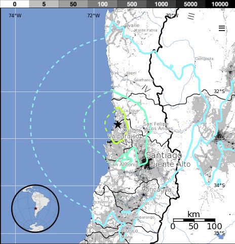 Epicentro terremoto 6,6 grados en Chile, 23 de Agosto 2014