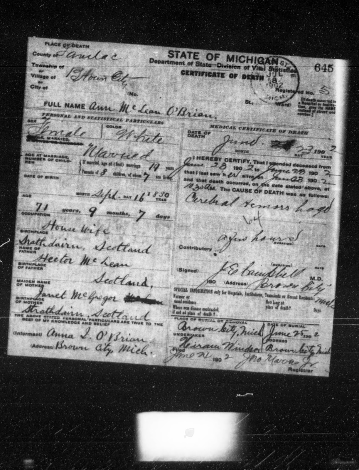 Climbing My Family Tree: Death Certificate for Ann McLean O'Brian