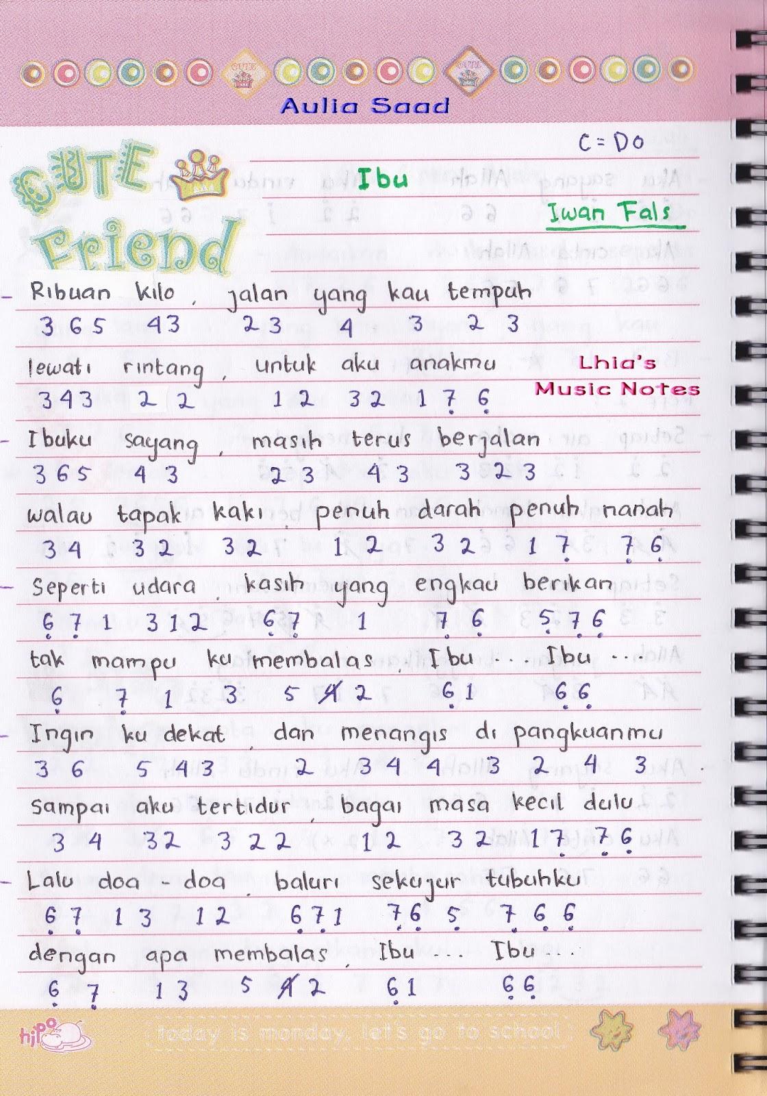 Not Angka : Iwan Fals – Ibu | Lhia's Music Notes
