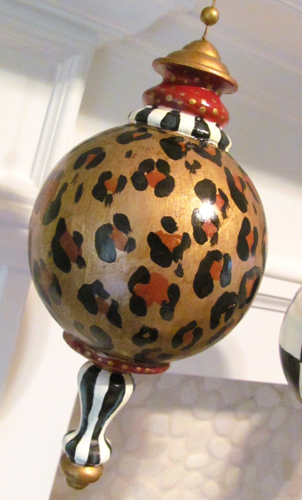 Large white christmas ornaments - Hand Painted Finial Leopard Print Christmas Ornament