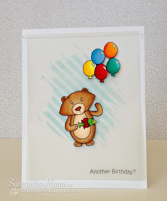 Winston's Birthday Bear Card by Samantha Mann for Newton's Nook Designs