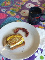 coffee, toast and eggs