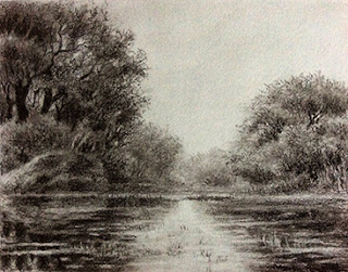 Charcoal sketching/painting of a landscape from Bharatpur Bird Sanctuary by Manju Panchal. Fine artist from India