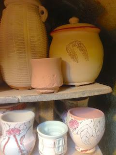 Pottery ready for soda firing by Lori Buff