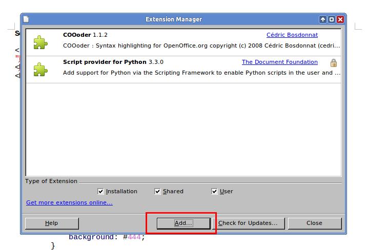 Menambahkan COOoder di LibreOffice