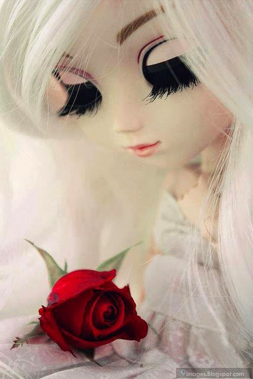 doll girl cute with red rose flower beautiful. Black Bedroom Furniture Sets. Home Design Ideas