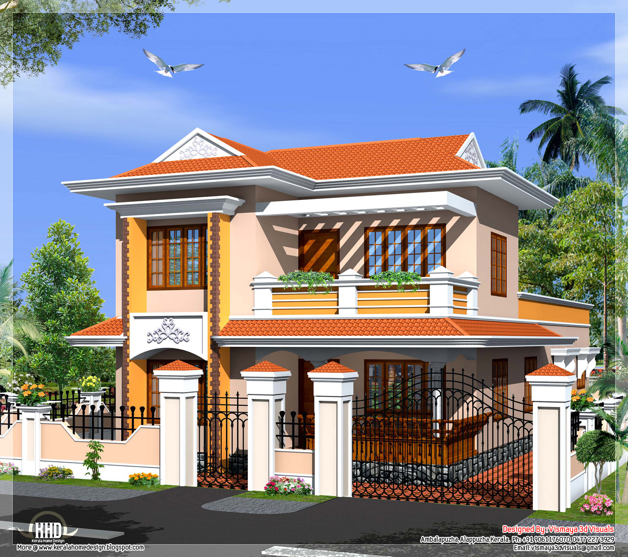 Kerala model villa in 2110 in square feet kerala house for Small villa plans in kerala