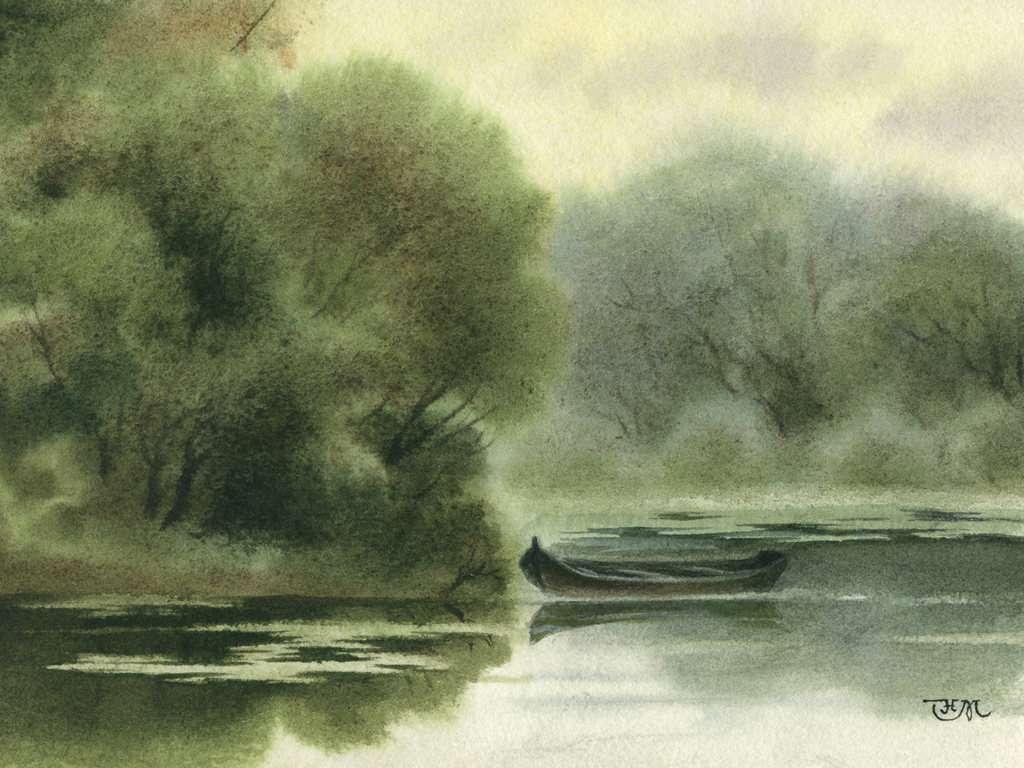Galery Lukisan: Lukisan Perahu Di Sungai