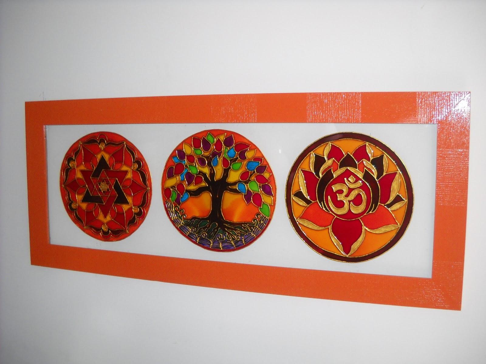 Mandalas en vidrio geometrias del alma cuadro con tres - Cuadros mandalas ...