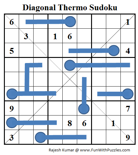 Diagonal Thermo Sudoku (Daily Sudoku League #68)
