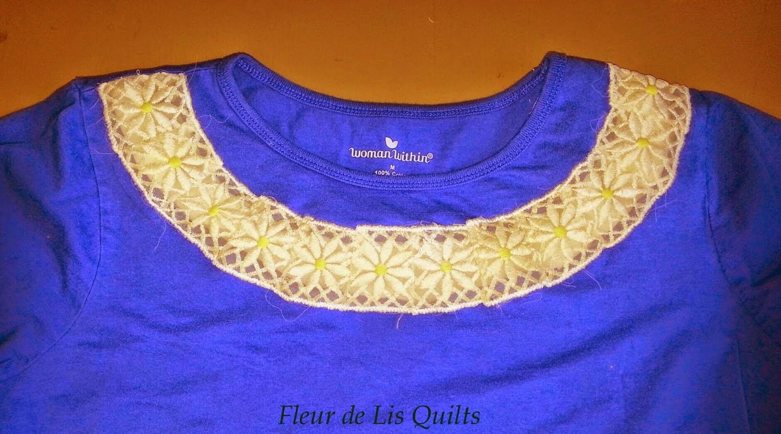 http://fleurdelisquilts.blogspot.com/2014/05/embellish-favorite-tee-with-vintage-lace.html