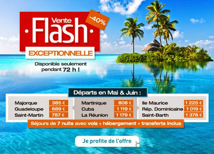 Vente flash hotel vols d s 385 euros antilles r union majorque ile ma - Discount vente flash ...