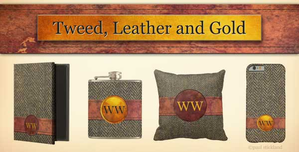 harris tweed, herringbone tweed gifts, leather, gold, patternstore