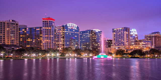 Twilight at fountain of Lake Eola