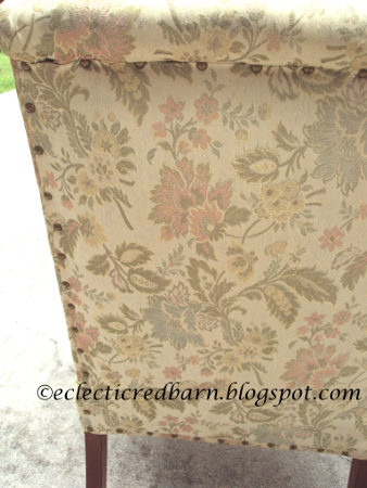 Eclectic Red Barn: Upholstered print chair with nail heads