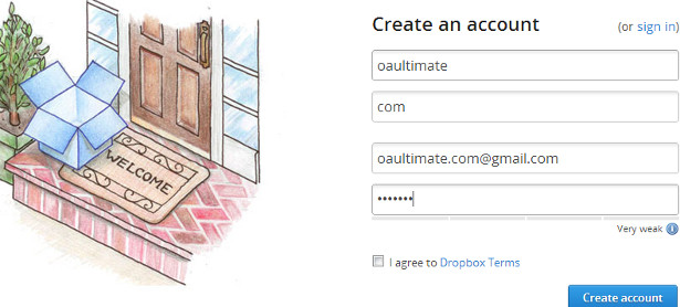 Register dropbox account