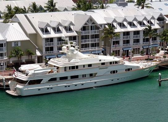 docked charade super yacht of merle wood and paul allen