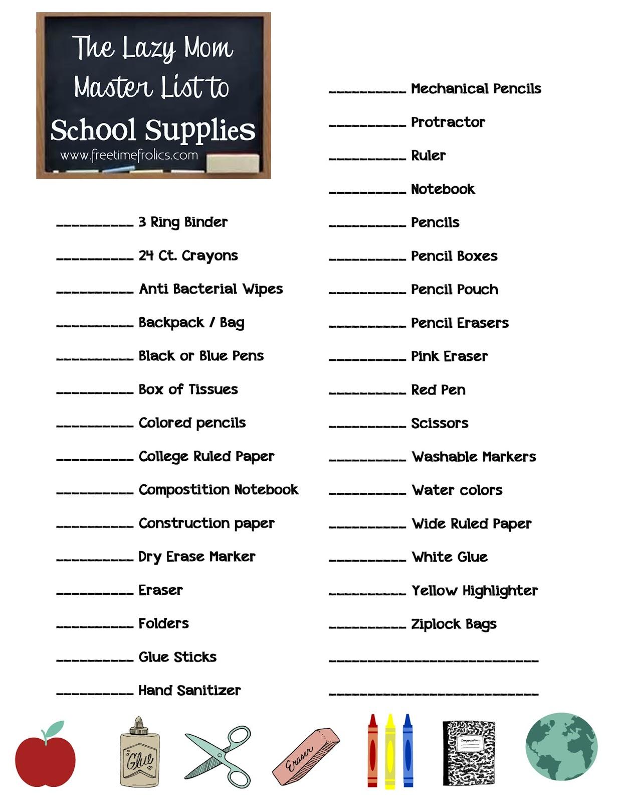 college school supply checklist