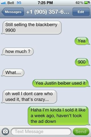 kijiji justin bieber blackberry
