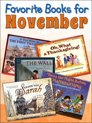 November is a great month for read-alouds! Here are a few of my favorites for Thanksgiving and Veteran's Day. These short picture books are perfect for upper elementary students and work well with many fall-related activities.