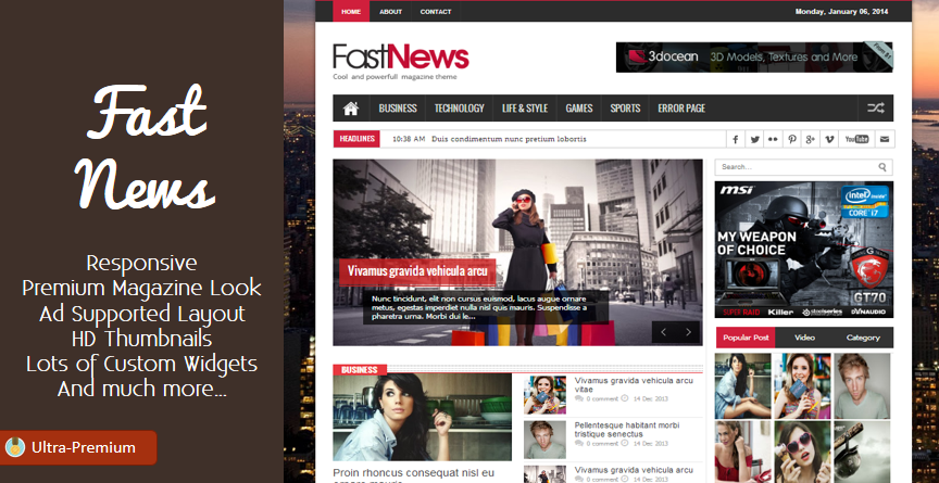 Fast News Responsive Blogger Template