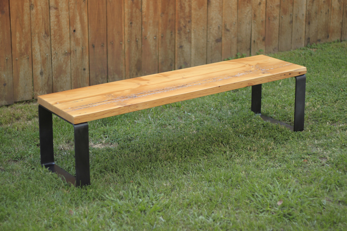Arbor Exchange Reclaimed Wood Furniture Reclaimed Wood Bench With Metal Base