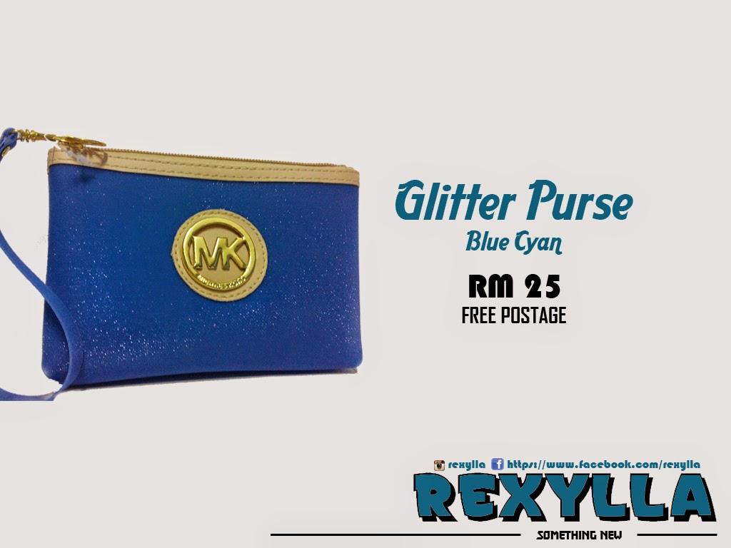 rexylla, glitter purse, blue cyan